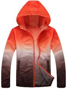 Mochoose Femme Légère Packable Veste de Sport à Capuche Protection UV Coupe Vent à Séchage Rapide(Orange et Marron,L)