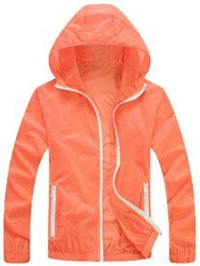 Mochoose Femme Légère Packable Veste de Sport à Capuche Protection UV Coupe Vent à Séchage Rapide(Orange,XS)