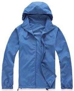 Mochoose Femme Légère Packable Veste de Sport à Capuche Protection UV Coupe Vent Imperméable à Séchage Rapide(Bleu Saphir,M)