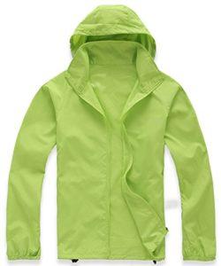 Mochoose Femme Légère Packable Veste de Sport à Capuche Protection UV Coupe Vent Imperméable à Séchage Rapide(Vert Jaunâtre,M)