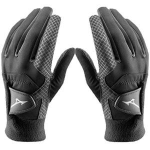 Pair of 2018 Mizuno ThermaGrip Mens Thermal Playing Golf Gloves Black Large