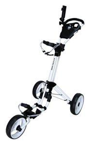 QWIK-FOLD Chariot À 3 Roues Chariot De Golf À Pousser À Tirer – Frein Au Pied – Une Seconde Pour L'Ouvrir Et Le Fermer! (Blanc/Blanc)