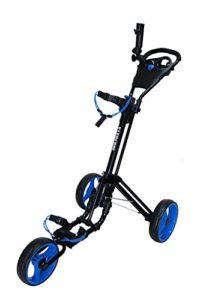 QWIK-FOLD Chariot À 3 Roues Chariot De Golf À Pousser À Tirer – Frein Au Pied – Une Seconde Pour L'Ouvrir Et Le Fermer! (Noir/Bleu)