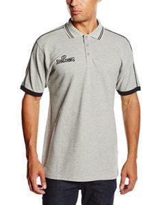 Spalding 3002797 Polo Homme Gris/Noir FR : L (Taille Fabricant : L)
