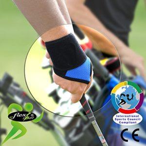 Spécial GOLF Protège poignet et pouce (bleu roi). ANTI-TRANSPIRANT, HYPOALLERGÉNIQUE. Renforce les poignets des golfeurs et soulage les douleurs. SANS NEOPRENE-SANS LATEX. 4DflexiSPORT