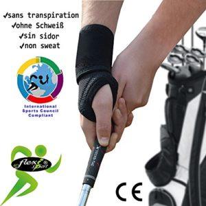 Spécial GOLF Protège poignet et pouce (noir intense). ANTI-TRANSPIRANT, HYPOALLERGÉNIQUE. Renforce les poignets des golfeurs et soulage les douleurs. SANS NEOPRENE-SANS LATEX. 4DflexiSPORT