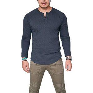 Sweat-shirt décontracté pour hommes – Juleya Hommes Garçons Basique V-cou à manches longues Sweatshirt Automne Hiver Chaud Pull Mode Casual Daily Slim Fit