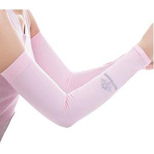 Unisex Outdoor Sunscreen vêtements bras soins de la peau respirant cyclisme soleil manches de protection – Rose