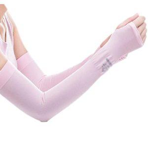 Unisex Outdoor Sunscreen vêtements mitaines Respirant cyclisme soleil manches de protection-Rose