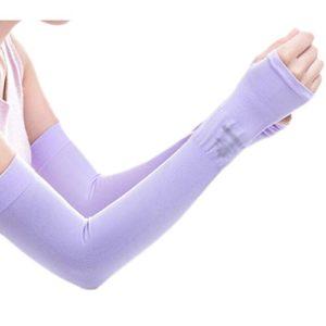 Unisex Outdoor Sunscreen vêtements mitaines Respirant cyclisme soleil manches de protection-Violet