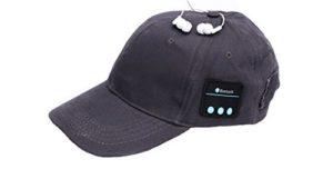 Veligoo Casque sans fil intelligent de chapeau de musique de Bluetooth de casquette de baseball de Bluetooth avec le microphone (gris)