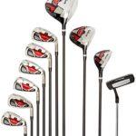 Wilson Ensemble Complet WGG157551 pour Débutant, 10 Clubs de Golf avec Sac Trépied, pour Homme (main droite), Stretch XL, Noir/Gris/Rouge