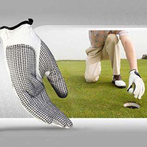 WXK Accessoires de Golf Main Gauche Sheepskin Reathable et Confortable Anti-dérapant Gants de Particules de Golf Hommes, Taille: 25#