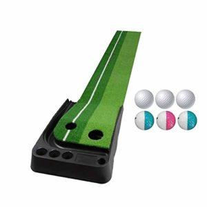 XIN DU QU Accessoires de golf PGM Tapis de golf pour canne à poussée 2,5 m avec trois balles souples et trois balles bicolores, sans parcours de retour automatique (vert), Vert