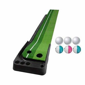 XIN DU QU Accessoires de golf PGM Tapis de golf pour canne à poussée 3 m avec trois balles souples et trois balles bicolores et parcours de retour automatique (vert), Vert