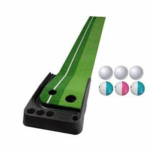 XIN DU QU Accessoires de golf PGM Tapis de golf pour canne à poussée 3 m, avec trois balles souples et trois balles bicolores, sans parcours de retour automatique (vert), Vert