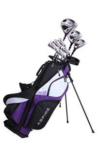 Aspire Ensemble Complet Xd1 De Clubs De Golf Pour Femmes, Pour Droitier Des Fers 6-Pw En Acier Inoxydable, Un Putter, Un Sac Trépied, 3 Clubs À Angle De Lancement Élevé De Couleur Violette