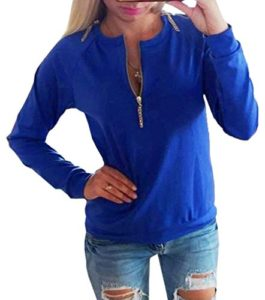 Bigood Pull-over Femme Pull Manche Longue Col Rond Sweat-shirt Zippé Casual Automne Hiver Bleu Bust 90cm