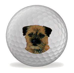 Border Terrier Martin Wiscombe 6 X Printed Balles De Golf Fantaisie