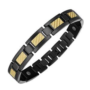 Bracelet en Titane Noir Ajustable pour Homme avec Fibre de Carbone Or et Fermoirs à Rabat de Moocare