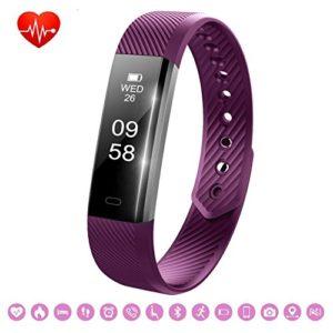 Bracelet Sport Activité Montre Connectée, NickSea Fitness Tracker d'Activité Bluetooth avec Cardiofréquencemètres, Podomètre, Distance, Calorie, Pour iPhone Android Smartphones – Violet (APP Gratuit)