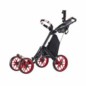 Caddytek seul Clic pliante 4roues Version 3Golf Push Cart-dark Gris avec sac de rangement, RED