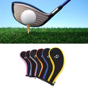 Couvre Club de Golf Housse de Protection de Fer Capuchon Headcover avez Zippé 3,4,5,6,7,8,9,PW,SW,A (E:10pcs)