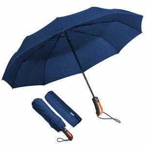 ECHOICE Parapluie Pliant, Parapluie Pliable Bleu Marine Automatique Ouverture et Fermeture Résistant à Tempête Compact Léger Parapluie de Voyage pour Homme et Femme