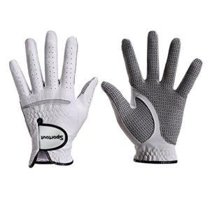 Gant de golf pour hommes en véritable cuir Cabretta avec ajustement par compression, prise en main solide, très doux, flexible, résistant à l'usure et confortable – tailles S à XXXl, blanc