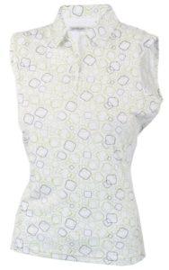 Green Lamb Polo sans manches pour femme Motif imprimé Chartreuse/White Size 18