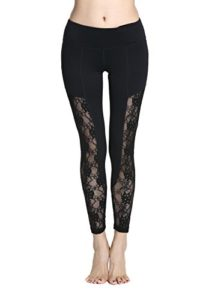 Harem Yoga Femmes Sexy Floral Lace Yoga Pantalons Leggings ¨¤ s¨¦chage rapide look leggings Black L