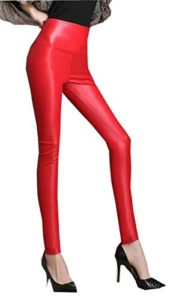 Harem Yoga Pantalon en similicuir pour dames Red S