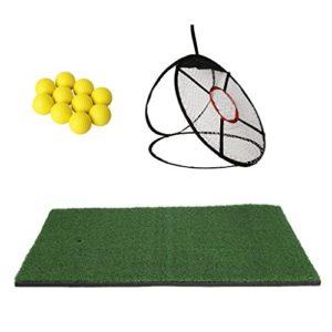 Homyl 24″ Tapis d'Entraînement Golf + Filet Formation de Chipping de Golf + 10pcs Balle de Golf en PU Mousse Accessoire Pratique Golf