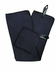 KinHwa Noir de golf en microfibre 35cmx75cm + 1PC avec Snap à suspendre Crochet et compact Rayures Poche de balle de golf Serviette 15cmx15cm, Noir