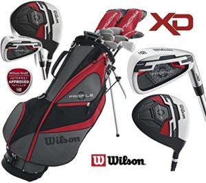 Le magasin de golf 4U Ltd Wilson Profil XD pour homme en acier complète avec fers et Graphite avec Woods de golf Club Deluxe et ensemble de sac de golf avec support + Gratuit Parapluie de golf & Society Tee Lot Worth £ 24.99