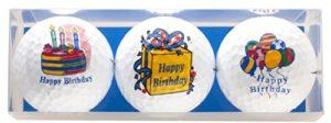 'Anniversaire–Coffret Cadeau de Golf «Happy Birthday comprenant 3bedruckten Golf Balles–Un Superbe Cadeau/Anniversaire sgeschenk pour chaque golfeur
