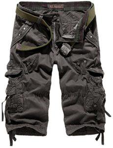 Mochoose Homme Pantalons Courts Coton de L'été Vintage Cargo Travail Casual 3/4 Shorts Multi Pockets Sport et Loisir(Gris Foncé,40)