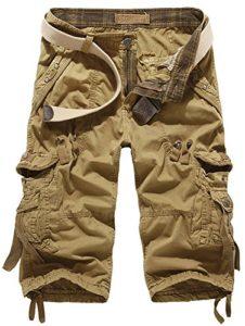 Mochoose Homme Pantalons Courts Coton de L'été Vintage Cargo Travail Casual 3/4 Shorts Multi Pockets Sport et Loisir(Kaki,29)