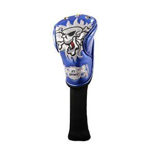 One Piece Tête de mort de golf bois 3Housse de protection pour universel Marque Bois de parcours, bleu