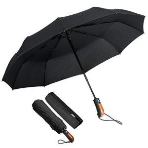Parapluie Pliant, ECHOICE Parapluie Pliable Noir Automatique Ouverture et Fermeture Résistant à Tempête Compact Léger Parapluie de Voyage pour Homme et Femme (Noir)