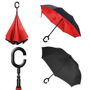 Parapluie repliable à l'épreuve du vent, à 2 couches en forme de C et mains libres, et protection ultime contre la pluie et les vents forts. Performance optimale, avec bouton poussoir métallique, un boîtier plus large et support autonome lorsqu'il n'est pas utilisé., Red