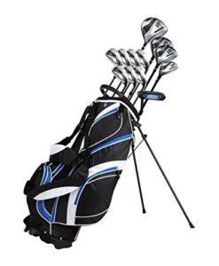 18pièces Ensemble de clubs de golf complet pour homme avec Titanium Driver, # 3et # 5Bois de parcours, # 4, hybride 5-SW Fers, putter, Sac de golf avec support, 4H/C – Couleurs et dimensions au choix, bleu, Main droite