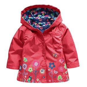 Amurleopard Blouson veste manteau fille a capuche floral impermeable Rouge 110cm