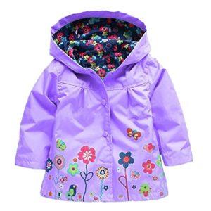 Amurleopard Blouson veste manteau fille a capuche floral impermeable Violet 130cm