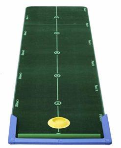 Best 11570 Tapis d'entraînement au putting 3,2 x 0,75 m avec bordure, trou en silicone et balai d'entretien