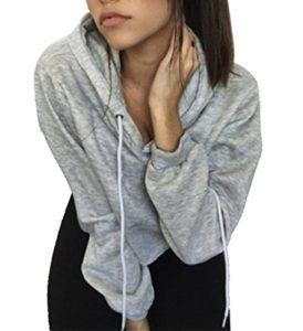 Bigood Sweat-Shirt Court Femme Pull Coton Manche Longue Veste à Capuche Top Crop Casual Mode Gris Bust 106cm