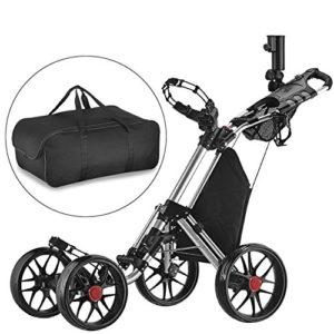 Caddytek seul Clic pliante 4roues Version 3Golf Push Cart-dark Gris avec sac de rangement, SILVER