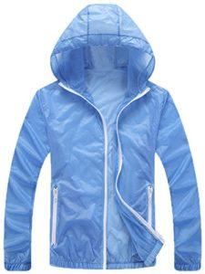 Mochoose Femme Légère Packable Veste de Sport à Capuche Protection UV Coupe Vent à Séchage Rapide(Bleu Clair,L)