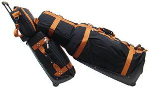 Premium ensemble de bagage pour golfeur (Bagage à main, sac à bandouiliére, golf housse de voyage avec roulettes et Stiff Arm protecteur des club de golf et caddytowel)