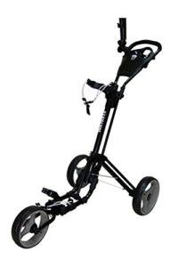 QWIK-FOLD Chariot À 3 Roues Chariot De Golf À Pousser À Tirer – Frein Au Pied – Une Seconde Pour L'Ouvrir Et Le Fermer! (Noir/Charbon)